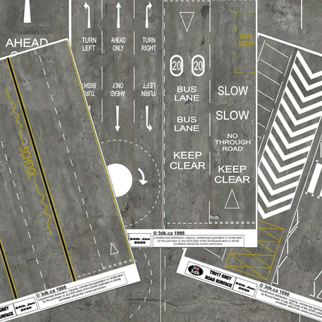Just released, three sheets of grey road markings.