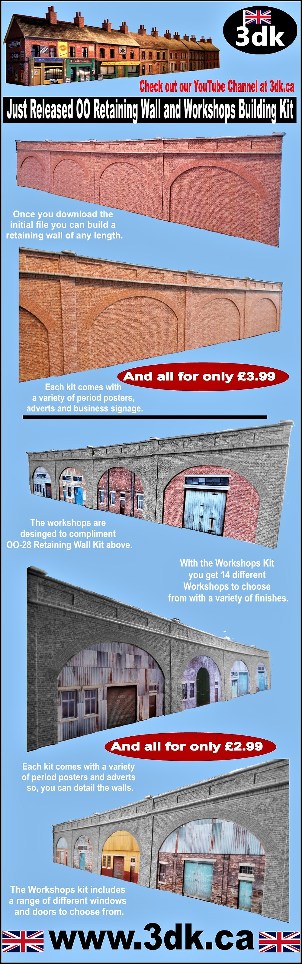 I am excited to announce the launch of two new kits to our range. The Retaining Wall kit and the Workshops kit. At only £2.99 and £3.99 these are excellent value for money and from one download you can assemble a retaining wall of any length.