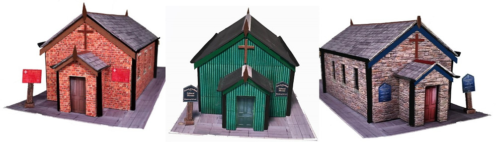 OO Gauge Corrugated Iron, Brick and Stone Churches  £4.17 = C$6.99  Simple and quick to assemble, just like the real thing!