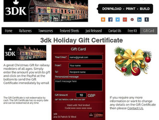 3dk Holiday Gift Certificate A great Christmas Gift for railway modelers of all ages.