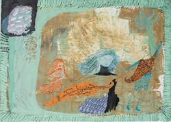 Untitled (Danza de culebras). Mixed media on canvas. 2020.