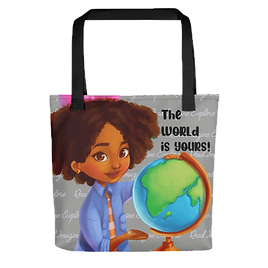 Anya's World Adventures: The World Is Yours Tote Bag - Gray