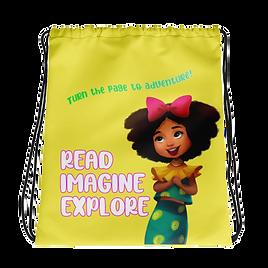 Anya's World Adventures: Read Imagine Explore Drawstring Bag - Yellow