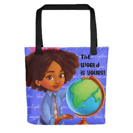 Anya's World Adventures: The World Is Yours Tote Bag - Blue
