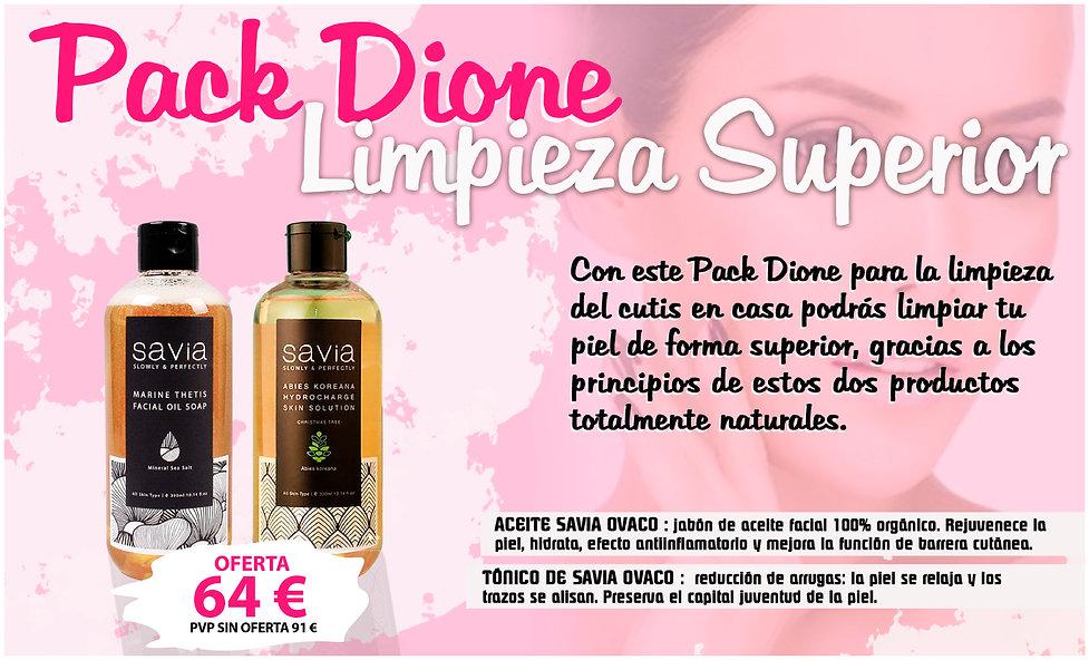 Pack Dione limpieza superior aceite limpiador savia ovaco marine thetis tónico acne piel grasa