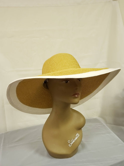 Tan Cream Trim Hat