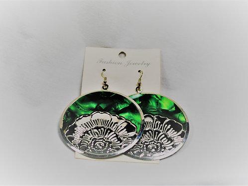 Emerald Green/Silvertone Flower Earrings