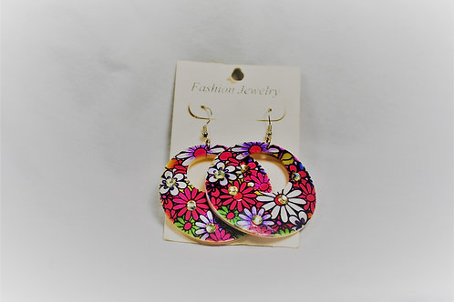 Flower Power Pink Round Earrings
