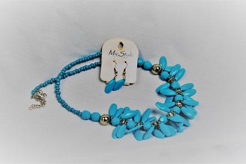 Turquoise Acrylic Bead Necklace Set