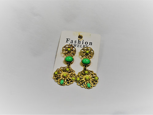 Lime Green Beaded Goldtone Earrings