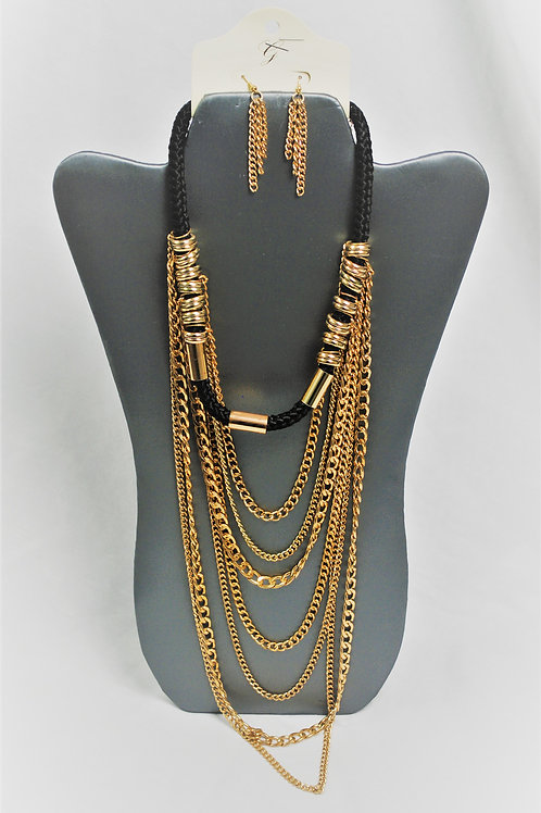 Gold/Black Mixed Layered Chain Necklace Set