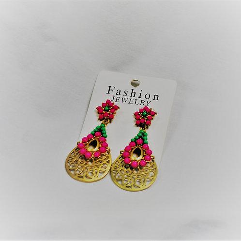 Pink/Green Goldtone Floral Earrings