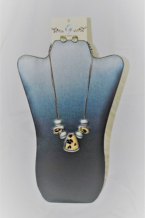 Animal Print Silvertone Necklace Set