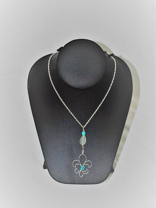 Silvertone Fleur de Li Necklace