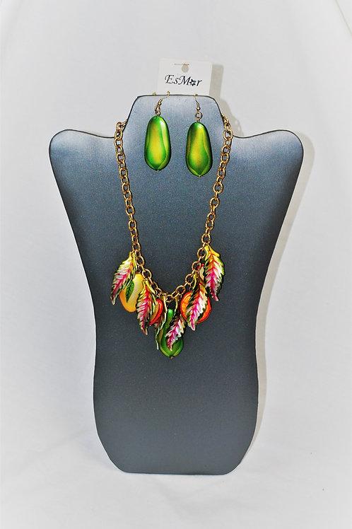 Goldtone Fruit Charm Necklace Set