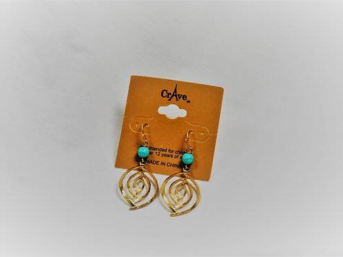 Goldtone & Turquoise Bead Earrings