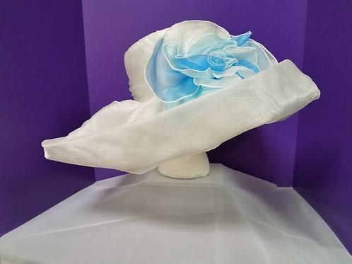 White Satin Hat With Flower
