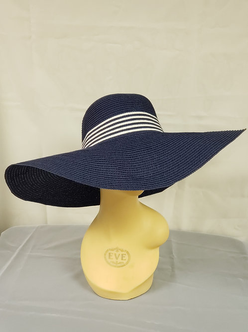 Navy Blue Hat w_Striped Band