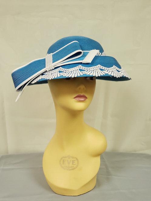 Turquoise White Dressy Hat