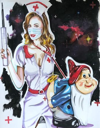 Romy. Infirmière, Nurse 6, 2020, feutres et acrylique sur papier Canson, 65/50 cm