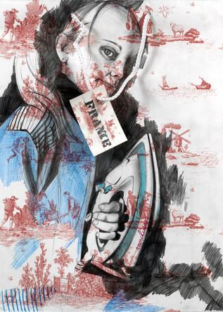 France ou Moulinex, dessin sur sac en papier, crayons, 40/25 cm, 2007