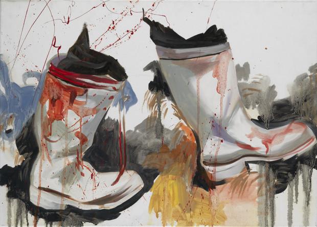 Bottes, 2008, huile sur toile, 65/80 cm