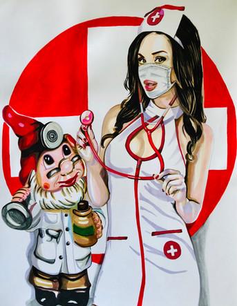 Natalia. Infirmière, Nurse 3, 2020, feutres et acrylique sur papier Canson, 65/50 cm