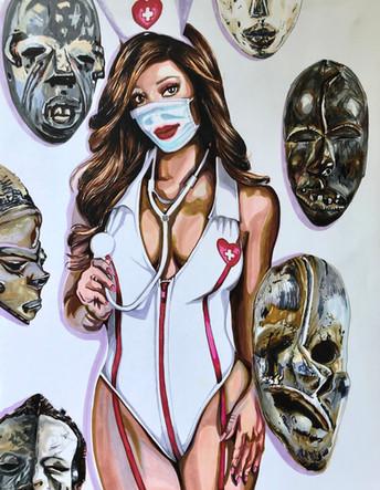 Coumba. Infirmiere, Nurse 2, 2020, feutres sur papier Canson, 65/50 cm