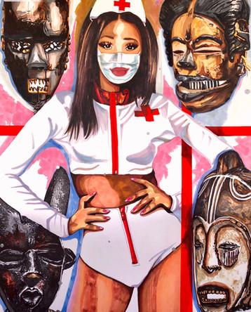 Fanta. Infirmière, Nurse 9, 2020, feutres et acrylique sur papier Canson, 65/50 cm