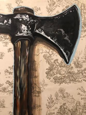 Hache, 2003, huile sur papier marouflé sur toile, 30/40 cm