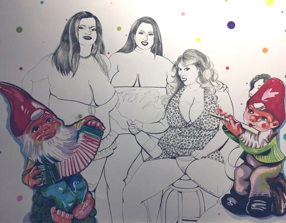 Bacchanale, dessin sur papier Canson, feutres et marqueurs, 50/65 cm, 2011