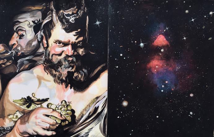 Bacchus 1, diptyque, 2019, technique mixte, 65/100 cm