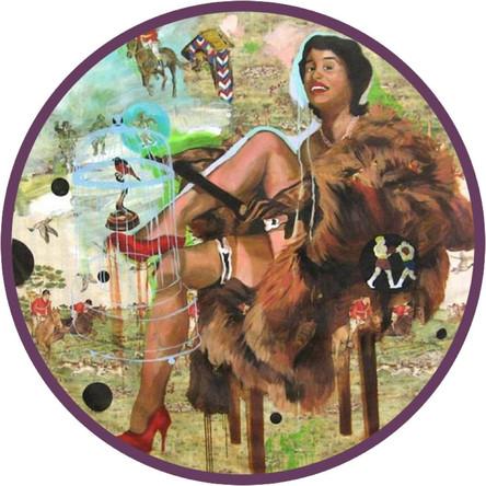 Reserve de chasse, 2006, huile sur toile cirée et panneau en bois, diam 150 cm