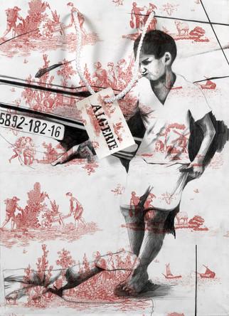 Algerie, dessin sur sac en papier, crayons, 40/25 cm, 2007