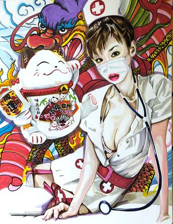 Yumi. Infirmiere, Nurse 1, 2020, feutres sur papier Canson, 65/50 cm