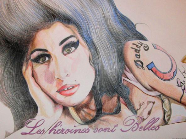 Les héroines sont belles, Amy Winehouse, dessin sur papier Canson, crayons aquarelle, 50/65 cm, 2011