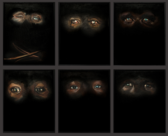 Aveugles, Série de 6 huiles sur toile, 2020, 41/32 cm, non dissociable
