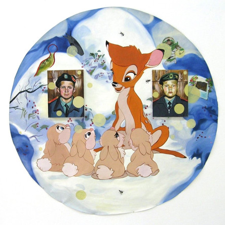 Bambi, 2006, 2 huiles sur toile accrochées, diam 150 cm