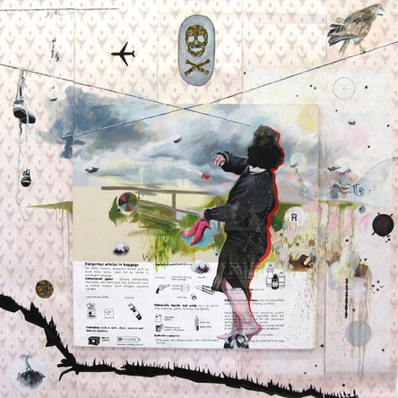 Amalgames 1, 2007, Huile sur toile accrochée sur papier peint, 270/250 cm