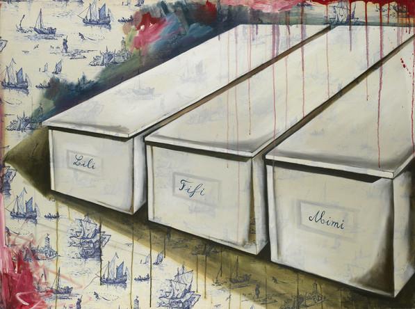 Lili Fifi Mimi, 2003, huile sur toile de Jouy, 97/132 cm