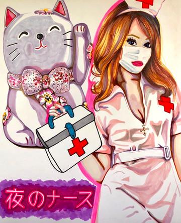 Aiko. Infirmière, Nurse 10, 2020, feutres et acrylique sur papier Canson, 65/50 cm