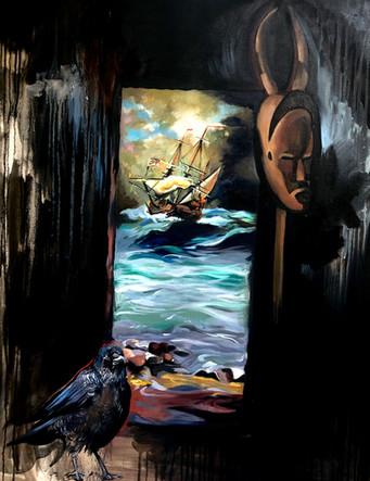 Porte des esclaves, Gorée, 2020, huile sur toile, 92/73cm