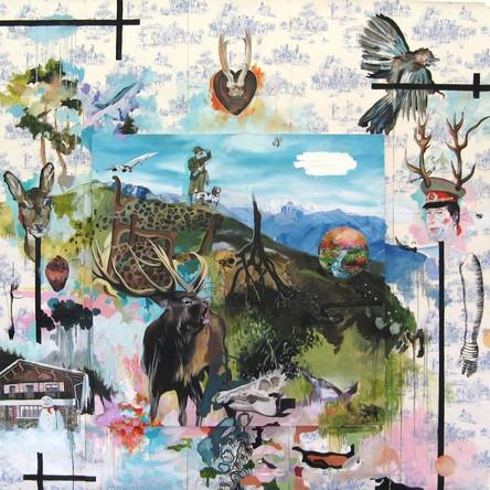 Amalgames 6, 2007, Huile sur toile accrochée sur papier peint, 270/250 cm