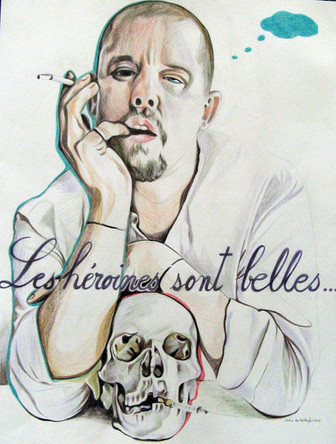 Les heroines sont belles, Alexander Mc Quen, dessin sur papier Canson, crayons aquarelle, 65/50 cm, 2011