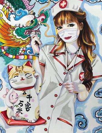 Chan. Infirmiere, Nurse 13, 2020, promarkers et feutres sur papier Canson, 65/50 cm