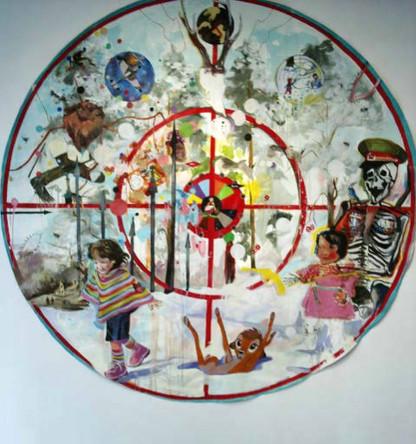 Cible 1, Romain Théobald, Nadia Benbouta, 2006, huile sur toile, diam 250 cm