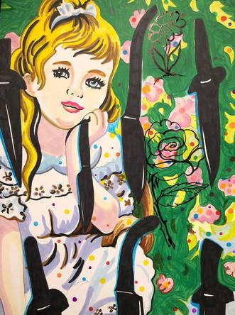 Alice, dessin-peinture sur papier Canson, 65/50cm, 2019