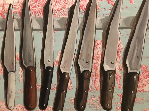 Couteau, 2003, huile sur papier marouflé sur toile, 30/40 cm