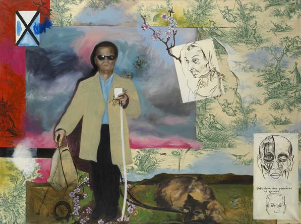 L'aveugle, 2003, huile sur toile de Jouy, 97/132 cm
