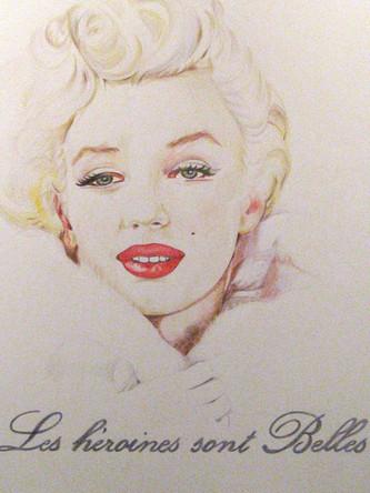 Les héroines sont belles, Marylin Monroe, dessin sur papier Canson, crayons aquarelle, 65/50cm, 2011